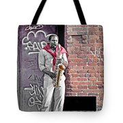 Jazz Man - Street Performer Tote Bag