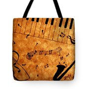 Jazz Music Coffee Painting Tote Bag