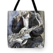 Jazz Saxophonist John Coltrane Yellow Tote Bag by Yuriy  Shevchuk