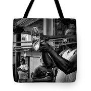Jazzy Trombone Music-bw Tote Bag