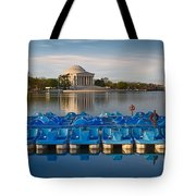 Jefferson Memorial And Paddle Boats Tote Bag
