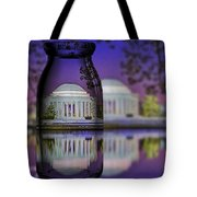 Jefferson Memorial In A Bottle Tote Bag by Susan Candelario