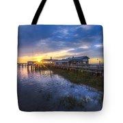 Jekyll Island Sunset Tote Bag by Debra and Dave Vanderlaan