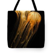 Jellyfish On Black Tote Bag