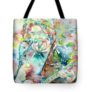 Jerry Garcia Playing The Guitar Watercolor Portrait.2 Tote Bag