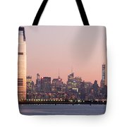 Jersey City And New York City  With Manhattan Skyline Over Hudso Tote Bag