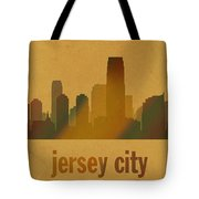 Jersey City New Jersey City Skyline Watercolor On Parchment Tote Bag