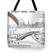 Jerusalem With Rainbow Tote Bag