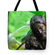 Jesus And Child Statute Tote Bag