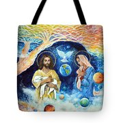 Jesus And Mary Cloud Colored Christ Come Tote Bag