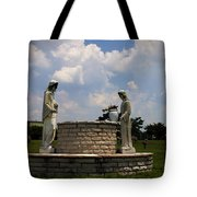 Jesus And The Woman At The Well Cemetery Statues Tote Bag