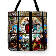 Jesus Angels Stained Glass Painting Inside Cologne Cathedral Germany Tote Bag