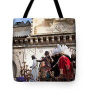 Jesus Christ And Roman Soldiers On Procession Platform Tote Bag