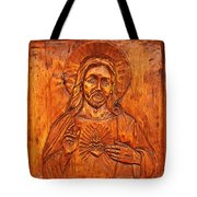 Jesus From A Door Panel At Santuario De Chimayo Tote Bag