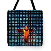 Jesus Sculpture And Blue Glass Background Tote Bag