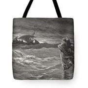 Jesus Walking On The Sea John 6 19 21 Tote Bag by Gustave Dore