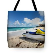 Jet Ski On The Beach At Atlantis Resort Tote Bag