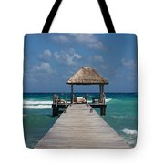Jetty With Beach Hut Tote Bag