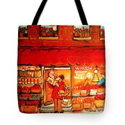 Jewish Culture In Montreal Paintings Of Warshaw's Fruit Store On St.lawrence Street Scene Art  Tote Bag