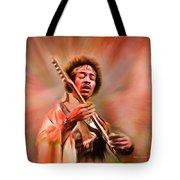 Jimi Hendrix Electrifying Guitar Play Tote Bag