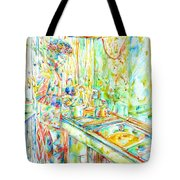 Jimi Hendrix In The Kitchen Watercolor Portrait Tote Bag