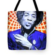 Jimi Hendrix Orange And Blue Tote Bag