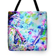 Jimi Hendrix Playing The Guitar.4 -watercolor Portrait Tote Bag