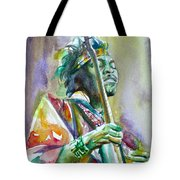 Jimi Hendrix Playing The Guitar.5 -watercolor Portrait Tote Bag