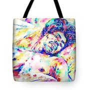 Jimi Hendrix Sleeping - Watercolor Portrait Tote Bag