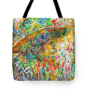 Jimi Hendrix With Hat Watercolor Portrait Tote Bag