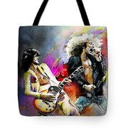Jimmy Page And Robert Plant Led Zeppelin Tote Bag by Miki De Goodaboom