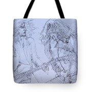 Jimmy Page And Robert Plant Live Concert-pen Portrait Tote Bag