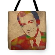 Jimmy Stewart Watercolor Portrait On Worn Distressed Canvas Tote Bag by Design Turnpike