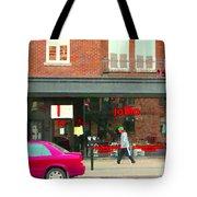 Joblo Restaurant Steakhouse Rue Wellington Verdun Montreal Cafe City Scenes Carole Spandau Tote Bag
