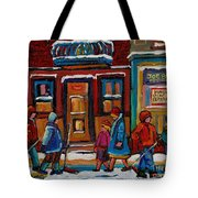 Joe Beef Restaurant And Boys With Hockey Sticks Tote Bag