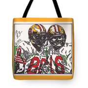 Joe Montana And Jerry Rice Tote Bag by Jeremiah Colley