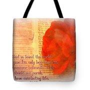 John 3 16 Floral Tote Bag