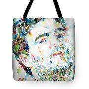 John Belushi Smoking - Watercolor Portrait Tote Bag