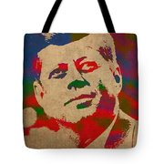 John F Kennedy Jfk Watercolor Portrait On Worn Distressed Canvas Tote Bag by Design Turnpike