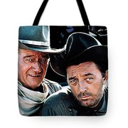 John Wayne And Robert Mitchum El Dorado 1967 Publicity Photo Old Tucson Arizona 1967-2012 Tote Bag