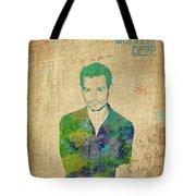 Johnny Depp Watercolor Tote Bag