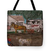 Johnsons Milk Wagon Pulled By A Horse  Tote Bag