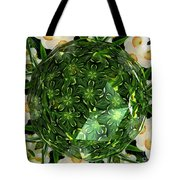 Jonquil Kaleidoscope Under Polyhedron Glass Tote Bag