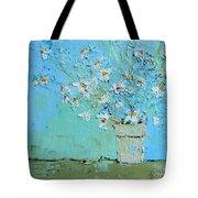 Joyful Daisies, Flowers, Modern Impressionistic Art Palette Knife Oil Painting Tote Bag