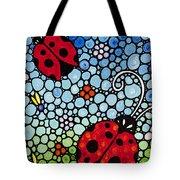 Joyous Ladies Ladybugs Tote Bag by Sharon Cummings