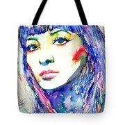 Juliette Greco - Colored Pens Portrait Tote Bag