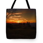 Jump Off Rock Sunset Silhouettes Tote Bag