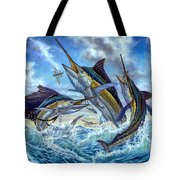 Jumping Grand Slam And Flyingfish Tote Bag by Terry  Fox