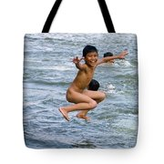 Jumping In The River Tote Bag