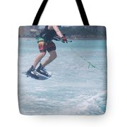Jumping Wakeboarder Tote Bag